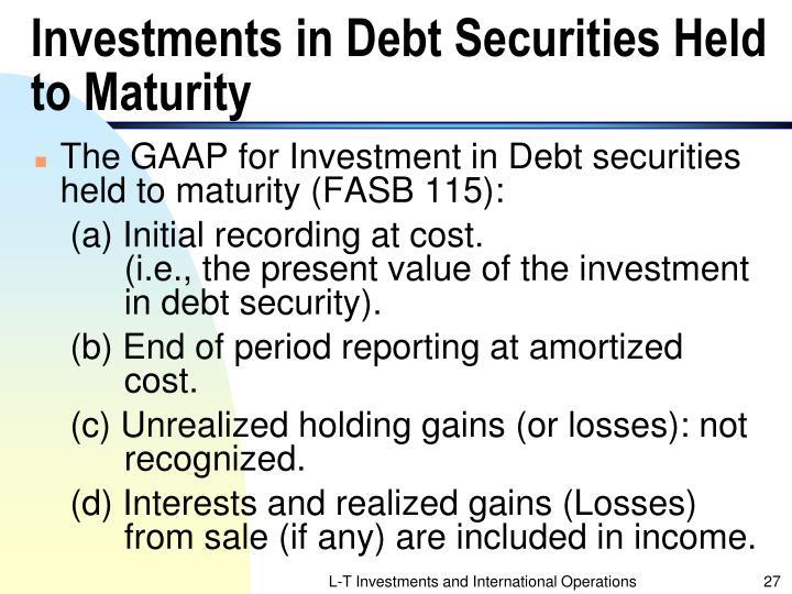 Investments in Debt Securities Held to Maturity