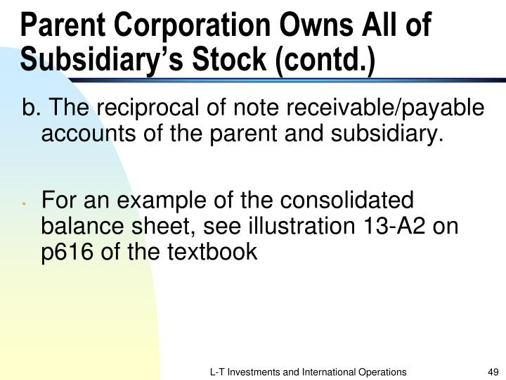 Parent Corporation Owns All of Subsidiary's Stock (contd.)