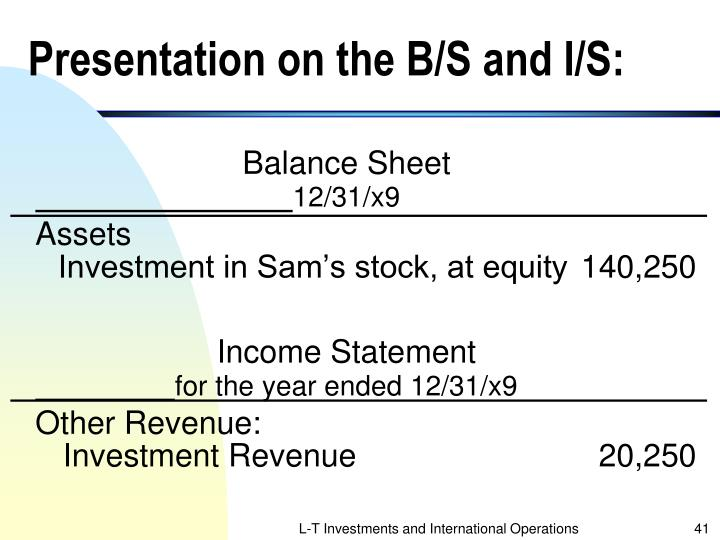 Presentation on the B/S and I/S: