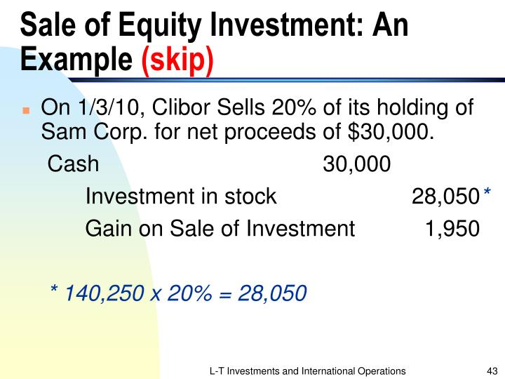 Sale of Equity Investment: An Example