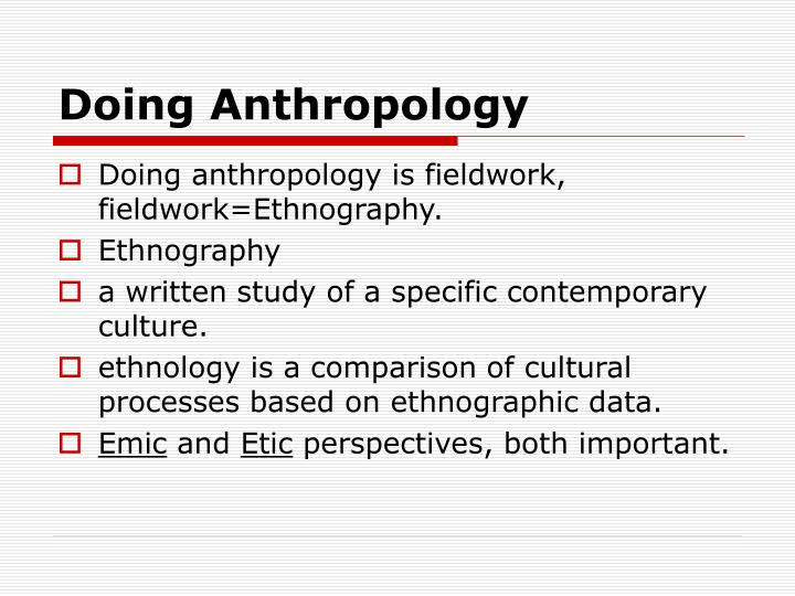 Doing anthropology