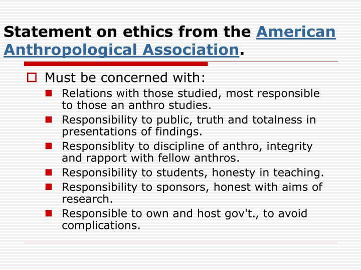 Statement on ethics from the