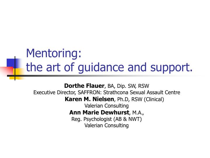 mentoring the art of guidance and support n.