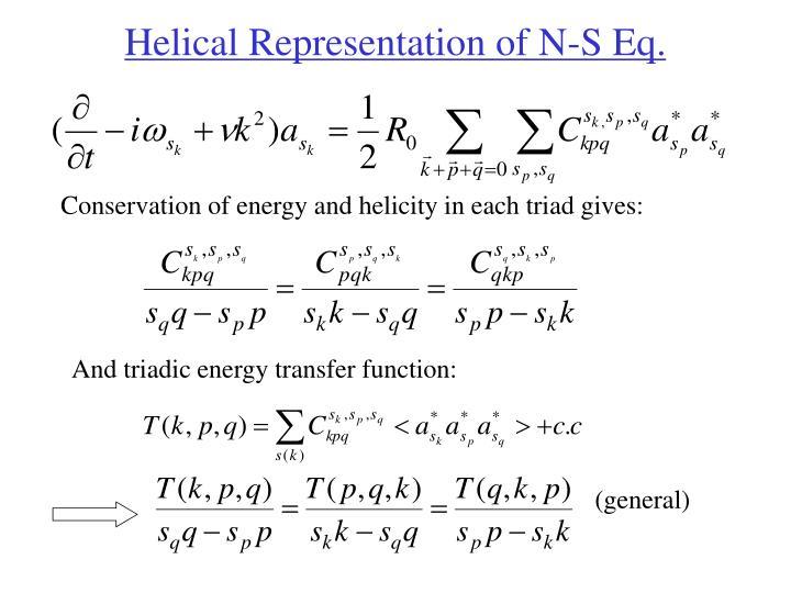 Helical Representation of N-S Eq.