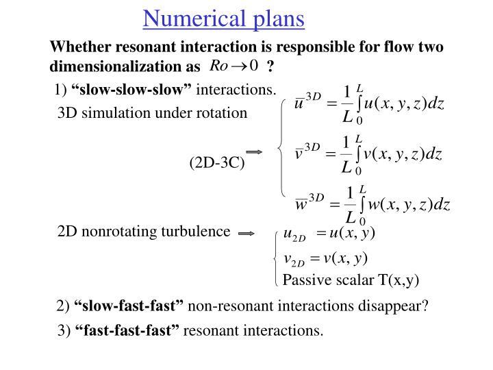 Numerical plans