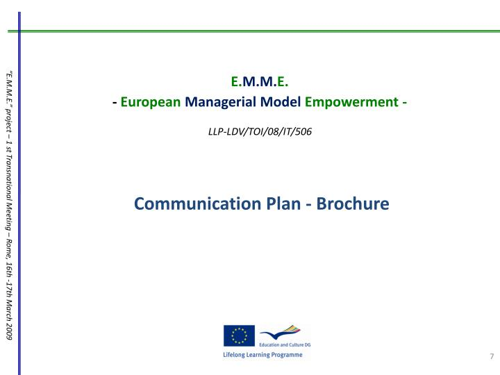 Communication Plan - Brochure