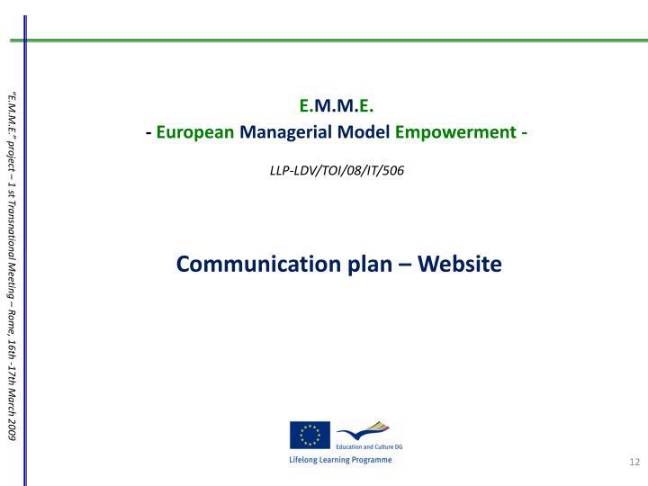 Communication plan – Website