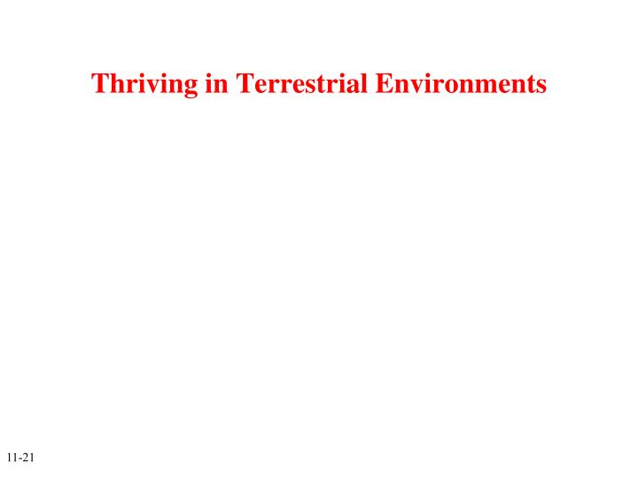 Thriving in Terrestrial Environments