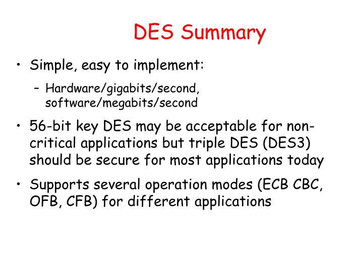 DES Summary