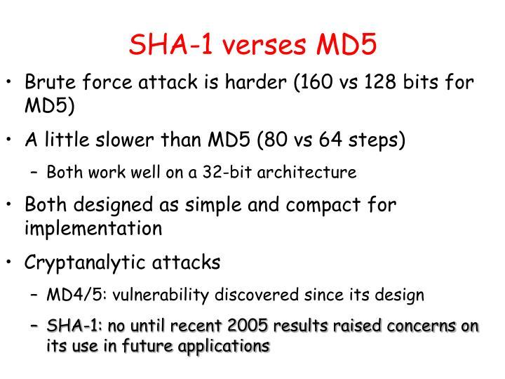 SHA-1 verses MD5
