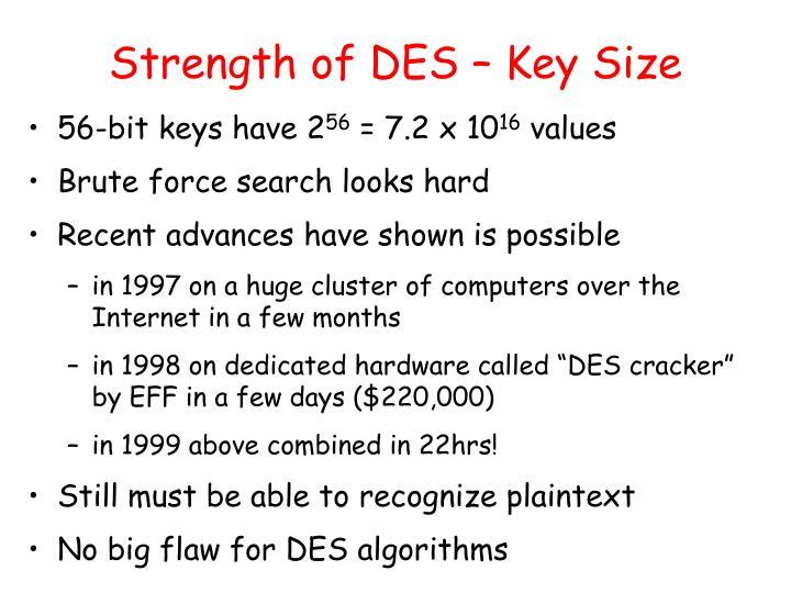 Strength of DES – Key Size