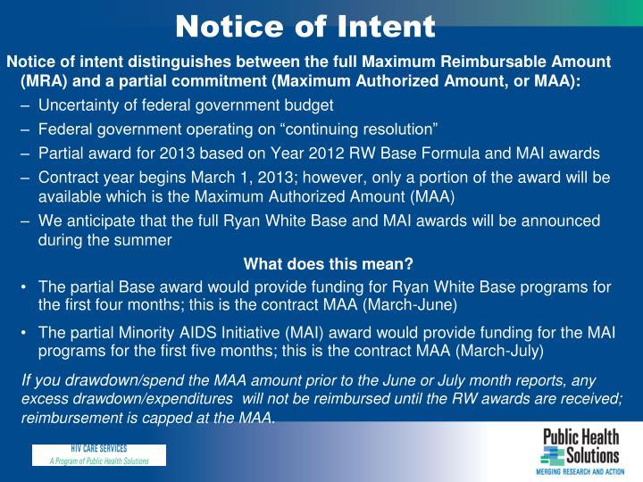 Notice of Intent