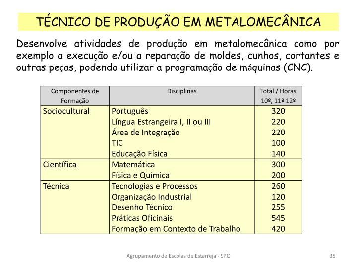 TÉCNICO DE PRODUÇÃO EM METALOMECÂNICA