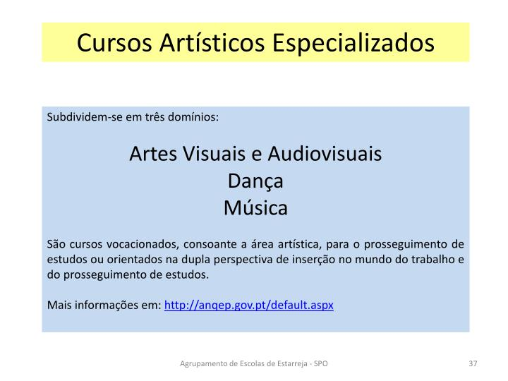 Cursos Artísticos Especializados