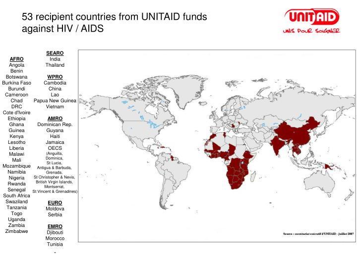 53 recipient countries from UNITAID funds
