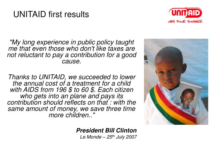 UNITAID first results