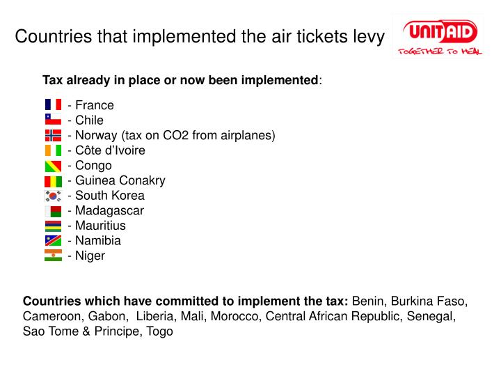 Countries that implemented the air tickets levy