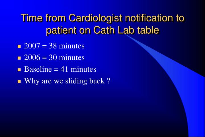 Time from Cardiologist notification to patient on Cath Lab table