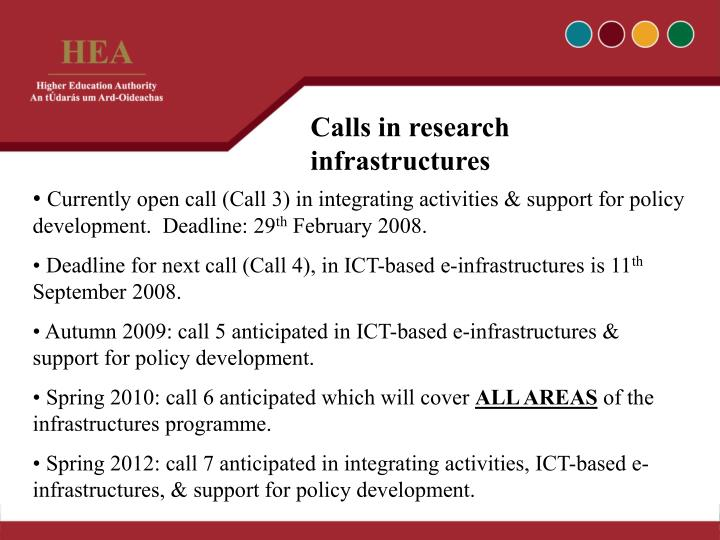 Calls in research infrastructures