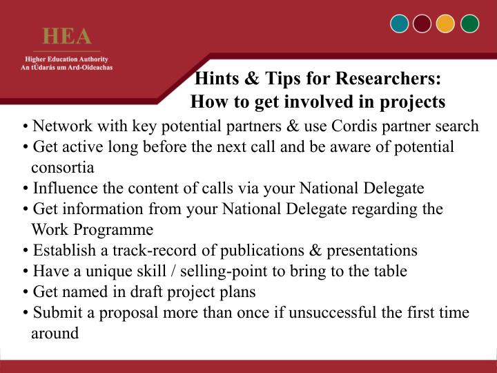 Hints & Tips for Researchers: