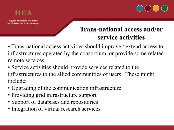 Trans-national access and/or service activities