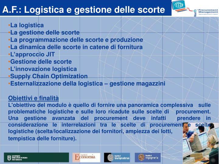 A.F.: Logistica e gestione delle scorte