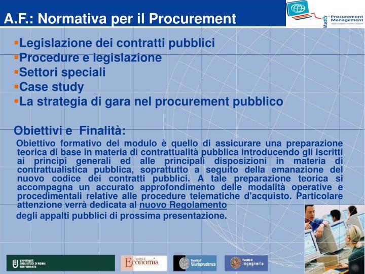 A.F.: Normativa per il Procurement