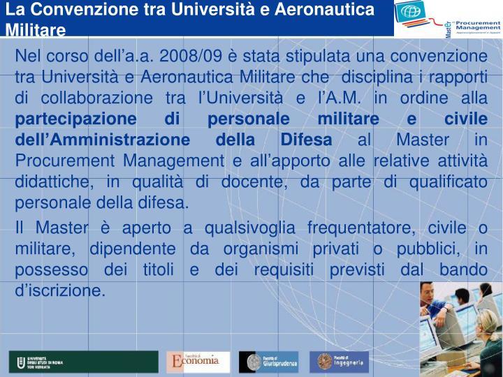La Convenzione tra Università e Aeronautica