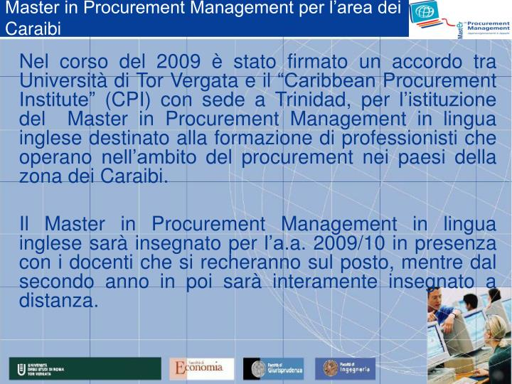 Master in Procurement Management per l'area dei