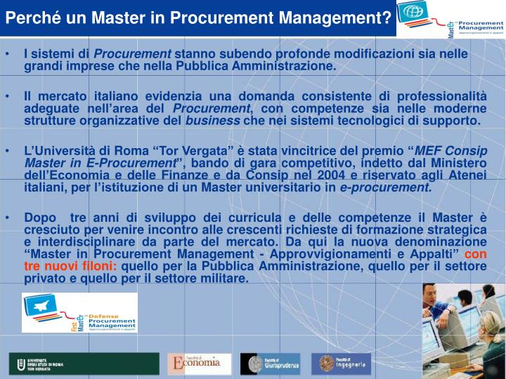 Perch un master in procurement management