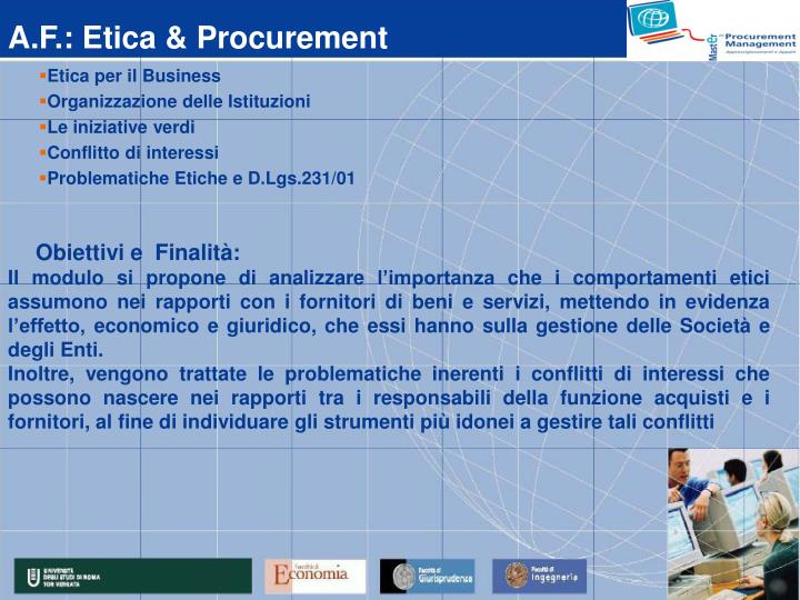 A.F.: Etica & Procurement