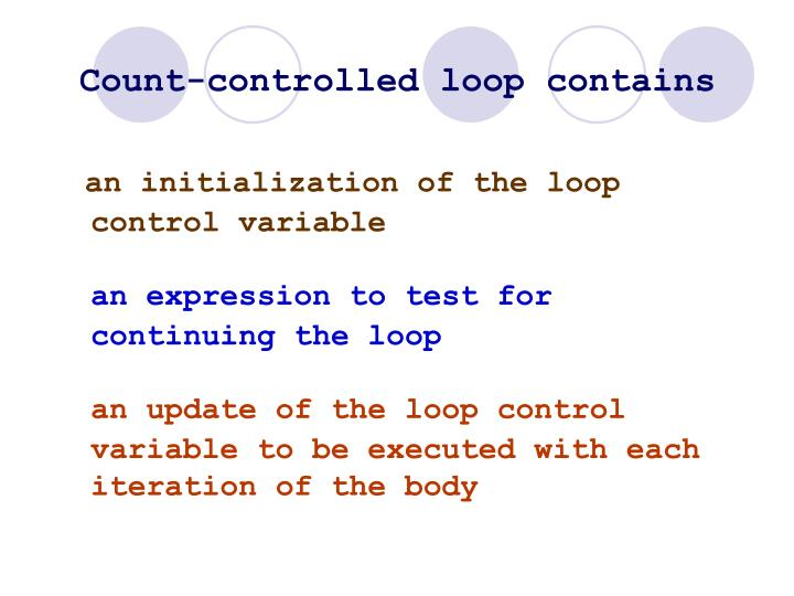 Count-controlled loop contains