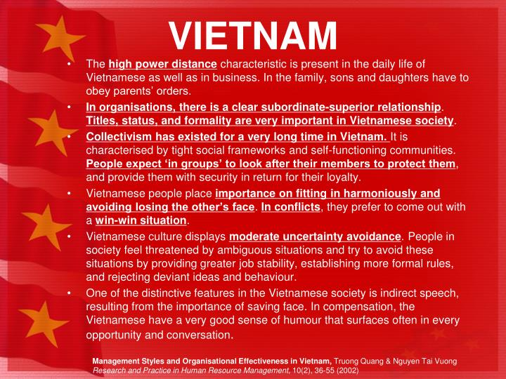 uncertainty avoidance in vietnam Vietnamese culture will be analyzed by hofstede dimension also, there are some notices when doing business in vietnam.
