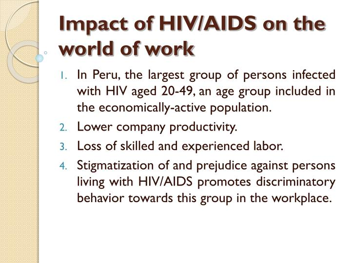 Impact of hiv aids on the world of work