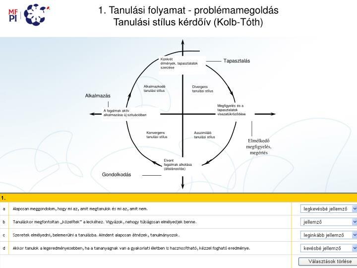 1. Tanulási folyamat - problémamegoldás
