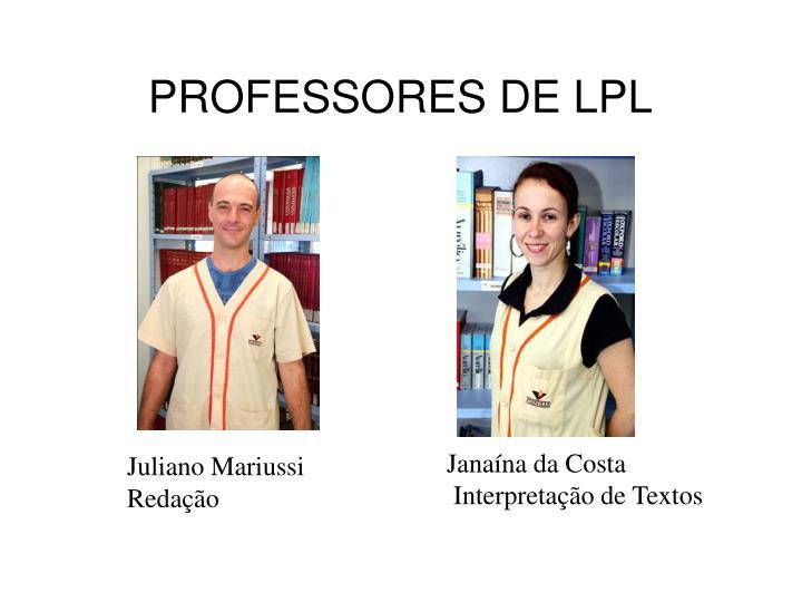 PROFESSORES DE LPL