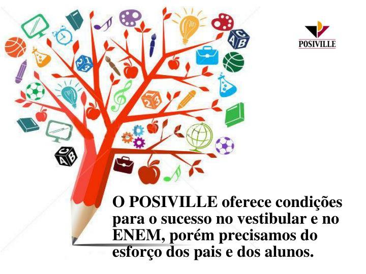 O POSIVILLE oferece condições para o sucesso no vestibular e no ENEM, porém precisamos do esforço dos pais e dos alunos.