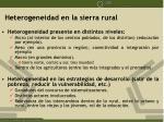 heterogeneidad en la sierra rural