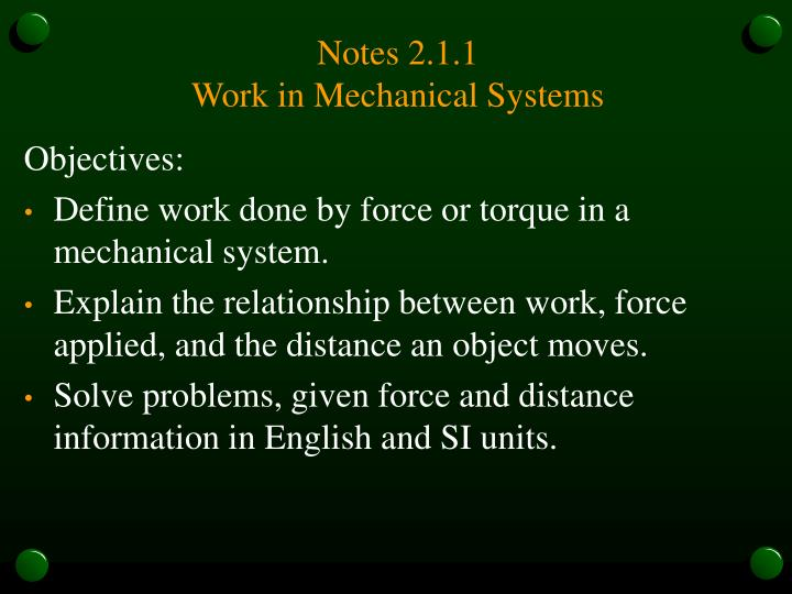 Notes 2 1 1 work in mechanical systems