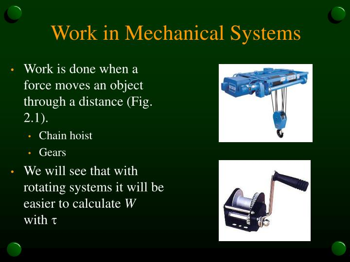 Work in mechanical systems