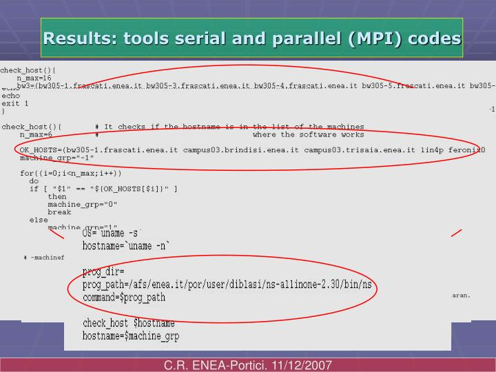 Results: tools serial and parallel (MPI) codes