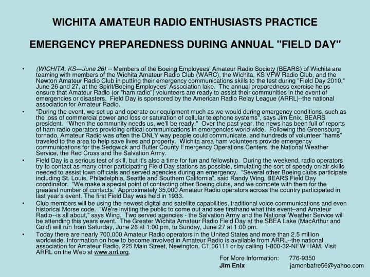Wichita amateur radio enthusiasts practice emergency preparedness during annual field day