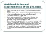 additional duties and responsibilities of the principal