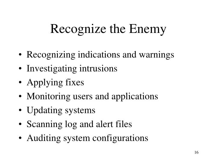 Recognize the Enemy