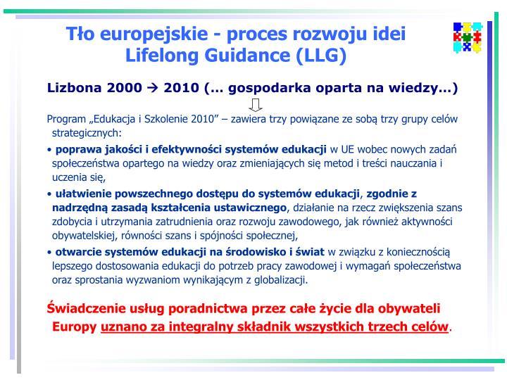Tło europejskie - proces rozwoju idei Lifelong Guidance (LLG)