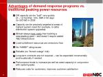 advantages of demand response programs vs traditional peaking power resources