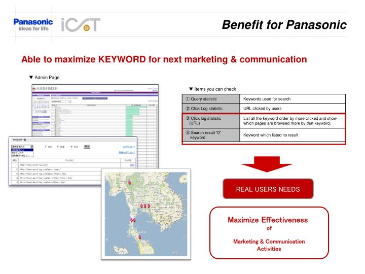 Benefit for Panasonic