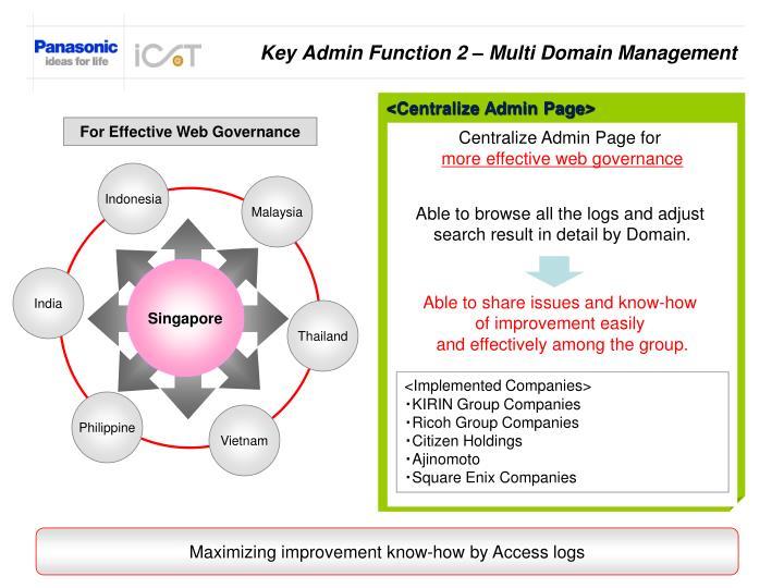 Key Admin Function 2 – Multi Domain Management