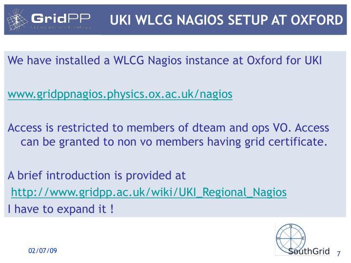 UKI WLCG NAGIOS SETUP AT OXFORD