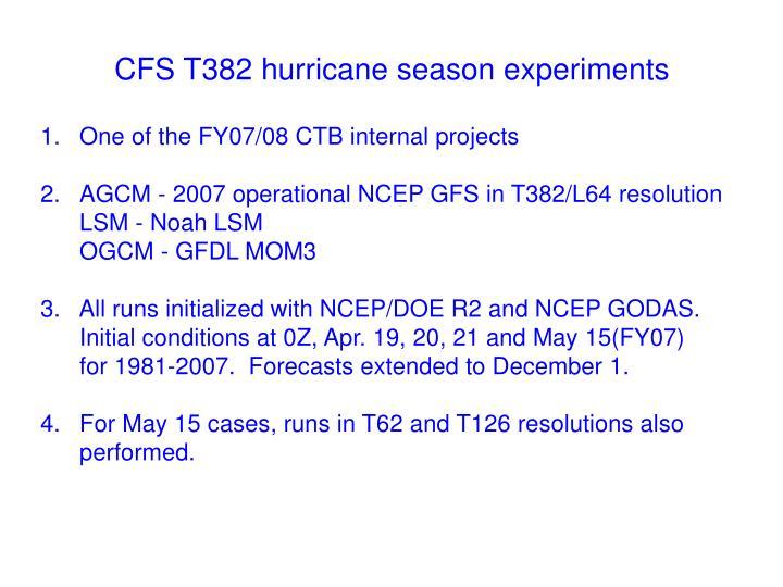 Cfs t382 hurricane season experiments